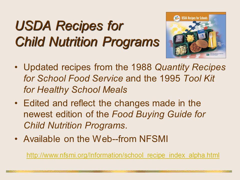 USDA Recipes for Child Nutrition Programs