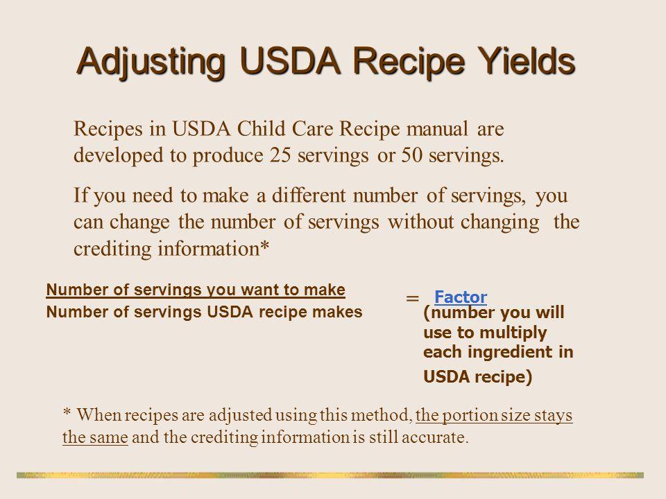Adjusting USDA Recipe Yields