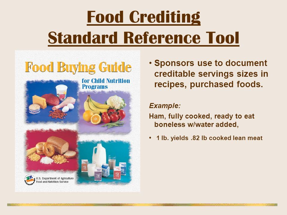 Food Crediting Standard Reference Tool
