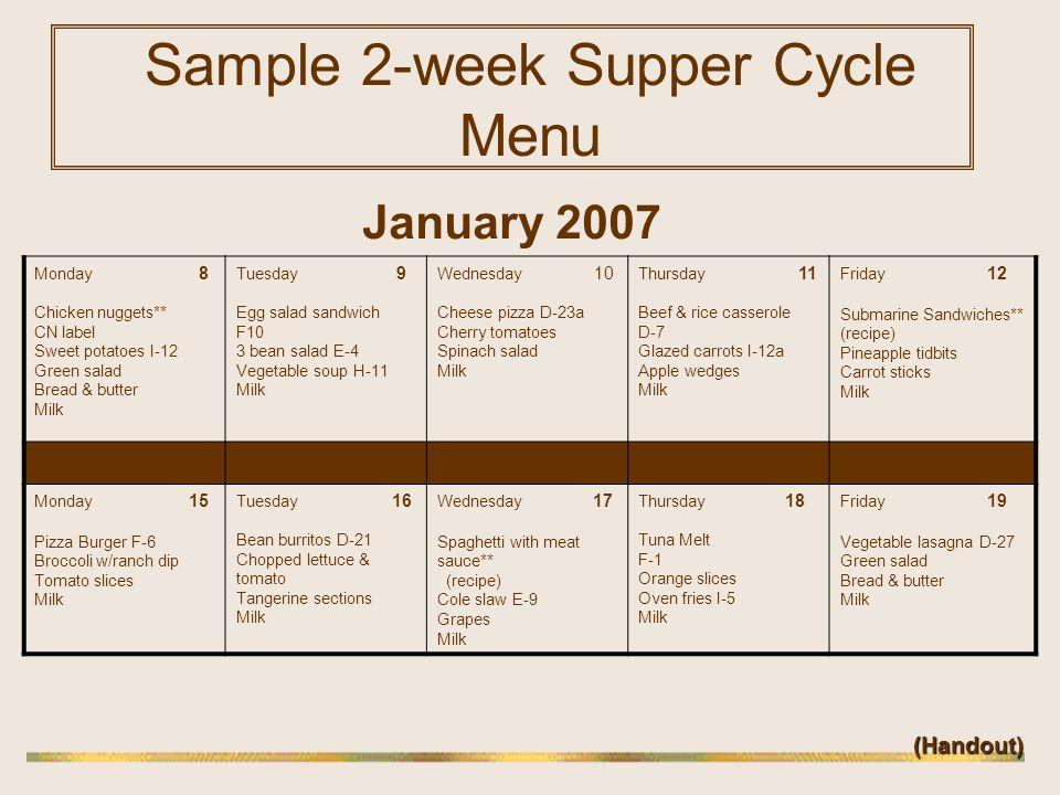 Sample 2-week Supper Cycle Menu