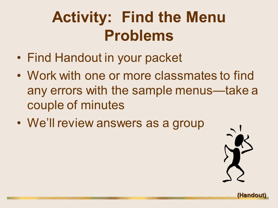Activity: Find the Menu Problems