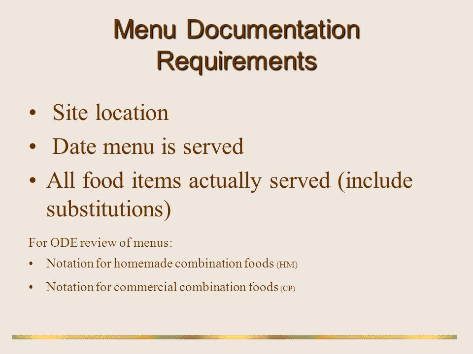 Menu Documentation Requirements