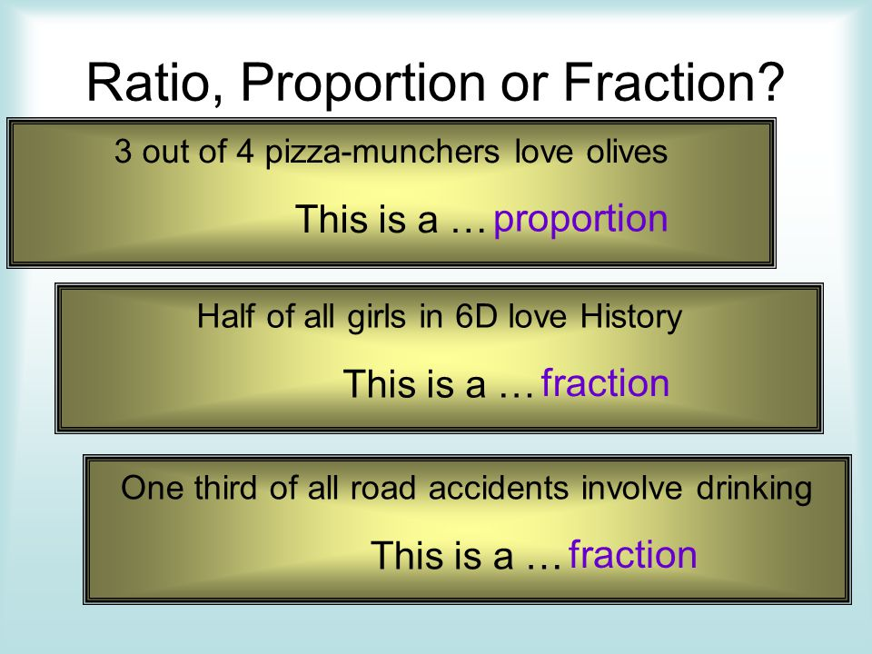 Ratio, Proportion or Fraction