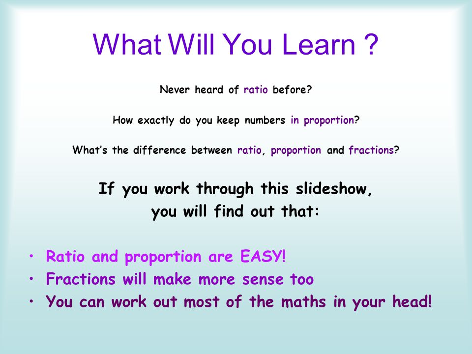 What Will You Learn If you work through this slideshow,