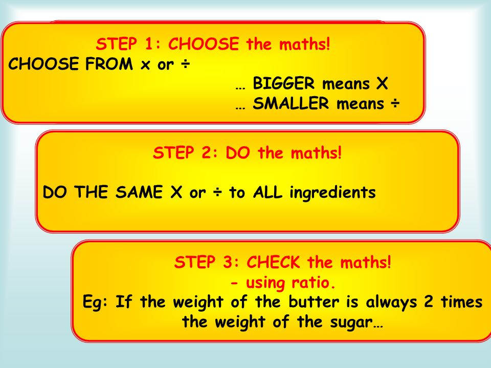 3 Steps for Scaling RECAP STEP 1: CHOOSE the maths! CHOOSE FROM x or ÷