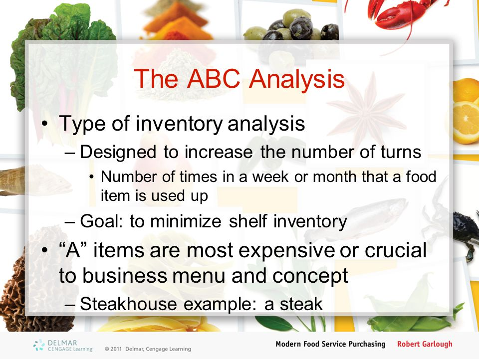 The ABC Analysis Type of inventory analysis
