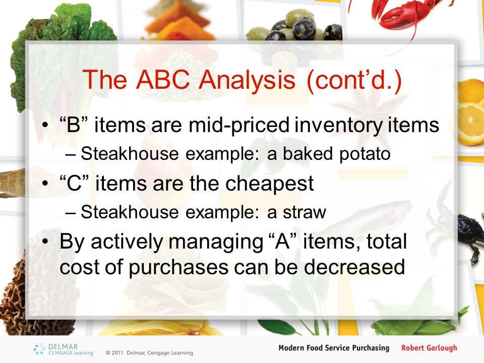 The ABC Analysis (cont'd.)