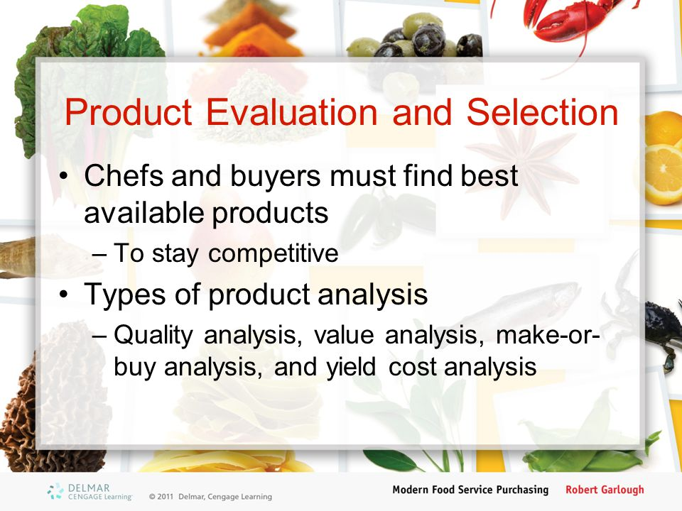 Product Evaluation and Selection