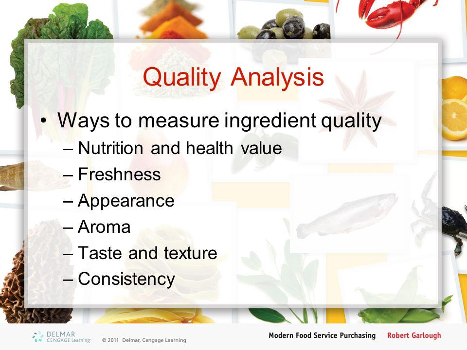 Quality Analysis Ways to measure ingredient quality
