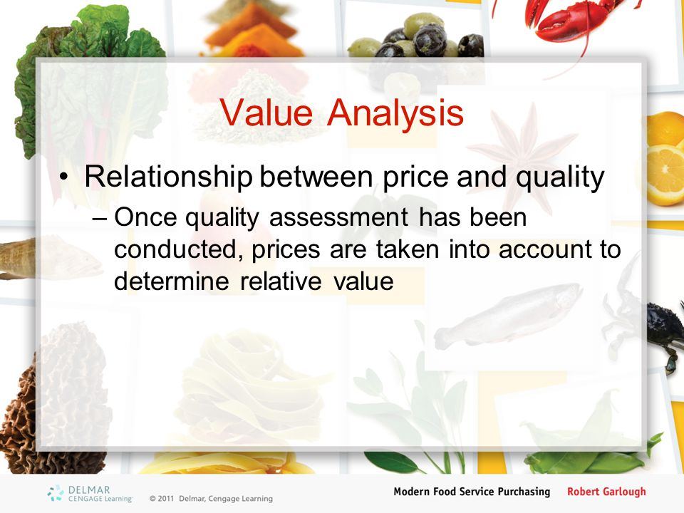 Value Analysis Relationship between price and quality