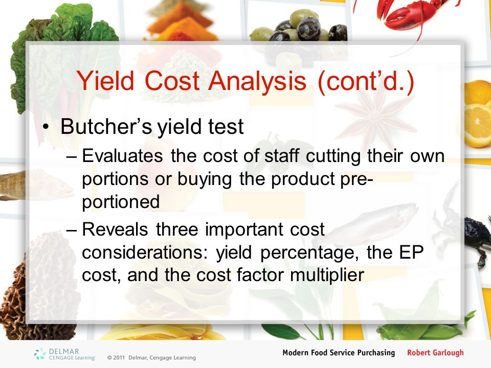 Yield Cost Analysis (cont'd.)