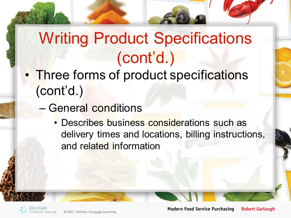 Writing Product Specifications (cont'd.)
