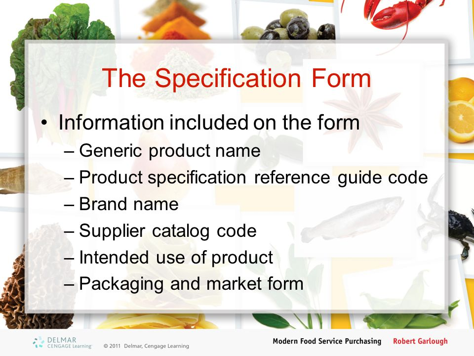The Specification Form
