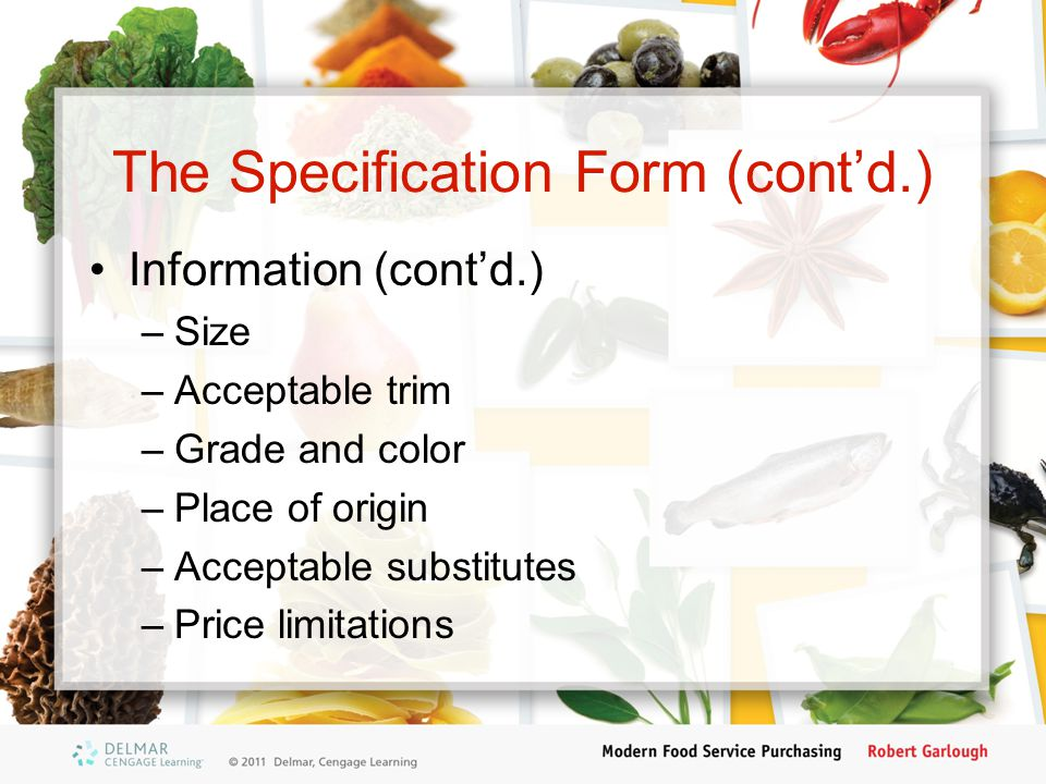 The Specification Form (cont'd.)