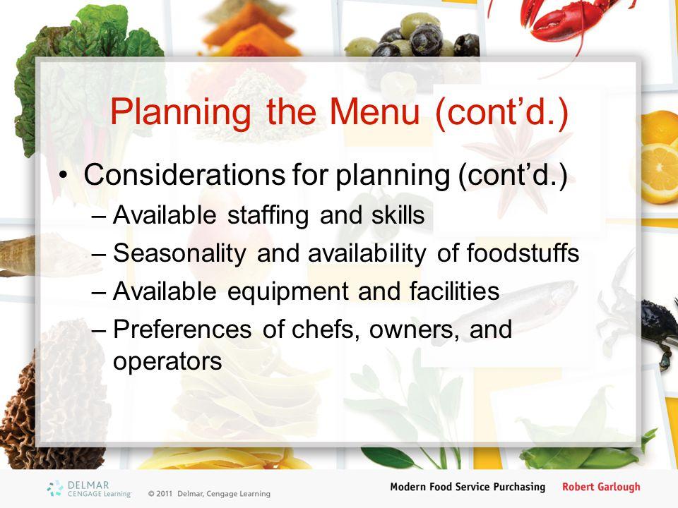Planning the Menu (cont'd.)