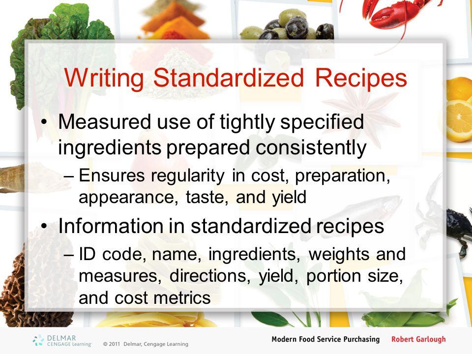 Writing Standardized Recipes