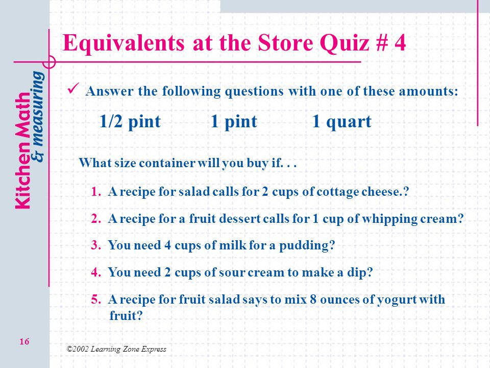 Equivalents at the Store Quiz # 4