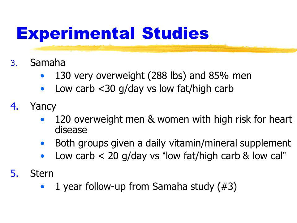 Experimental Studies 130 very overweight (288 lbs) and 85% men