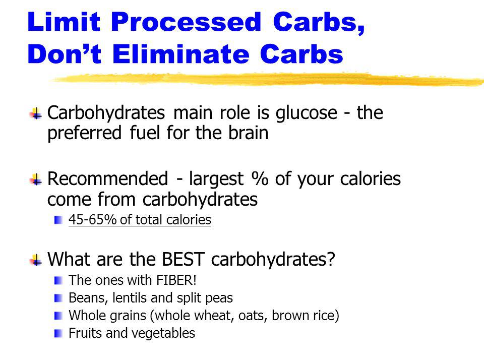 Limit Processed Carbs, Don't Eliminate Carbs