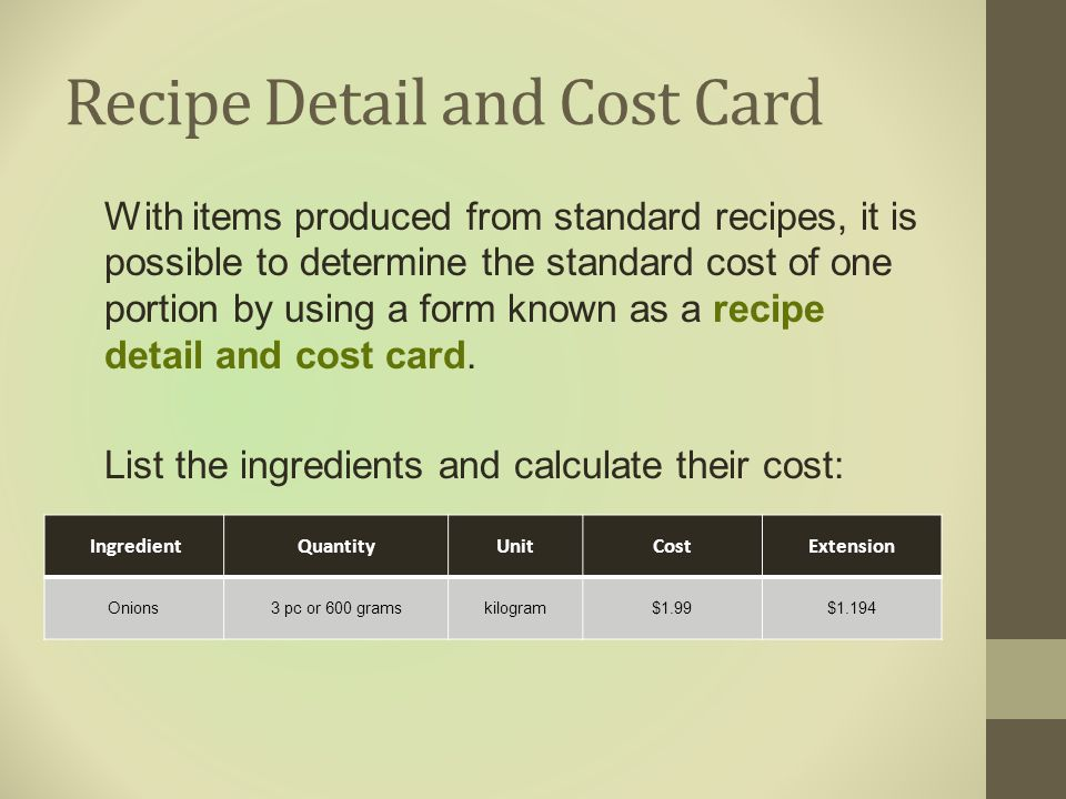 Recipe Detail and Cost Card