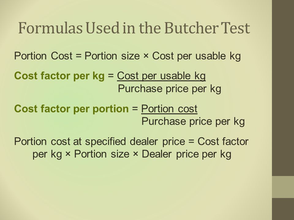 Formulas Used in the Butcher Test