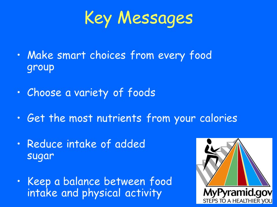 Key Messages Make smart choices from every food group