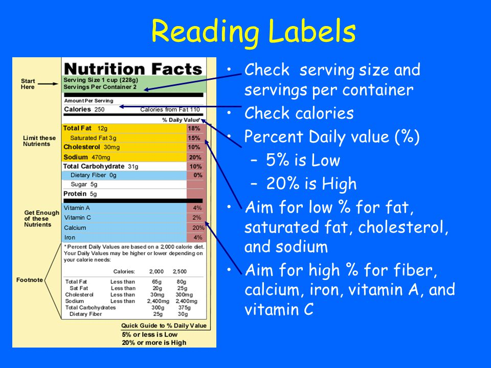 Reading Labels Check serving size and servings per container