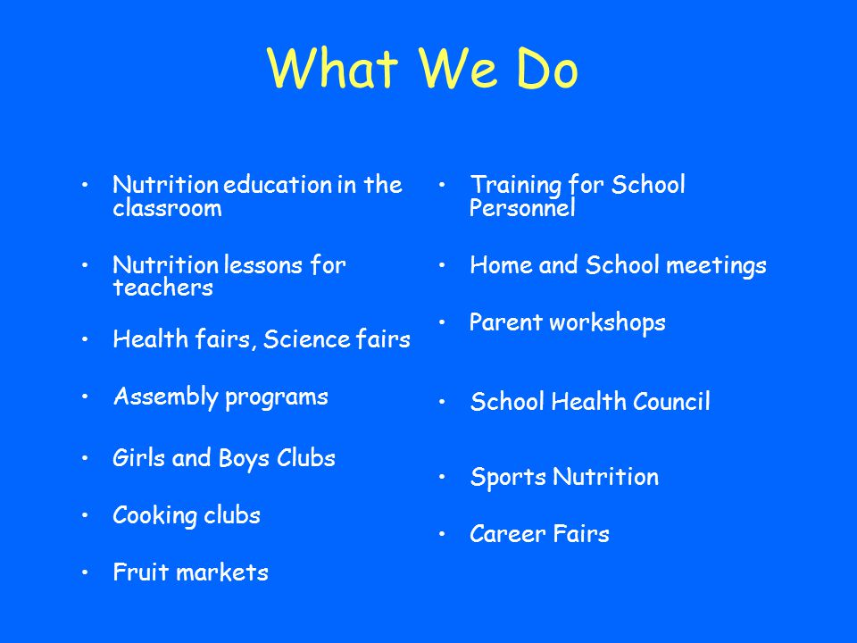 What We Do Nutrition education in the classroom