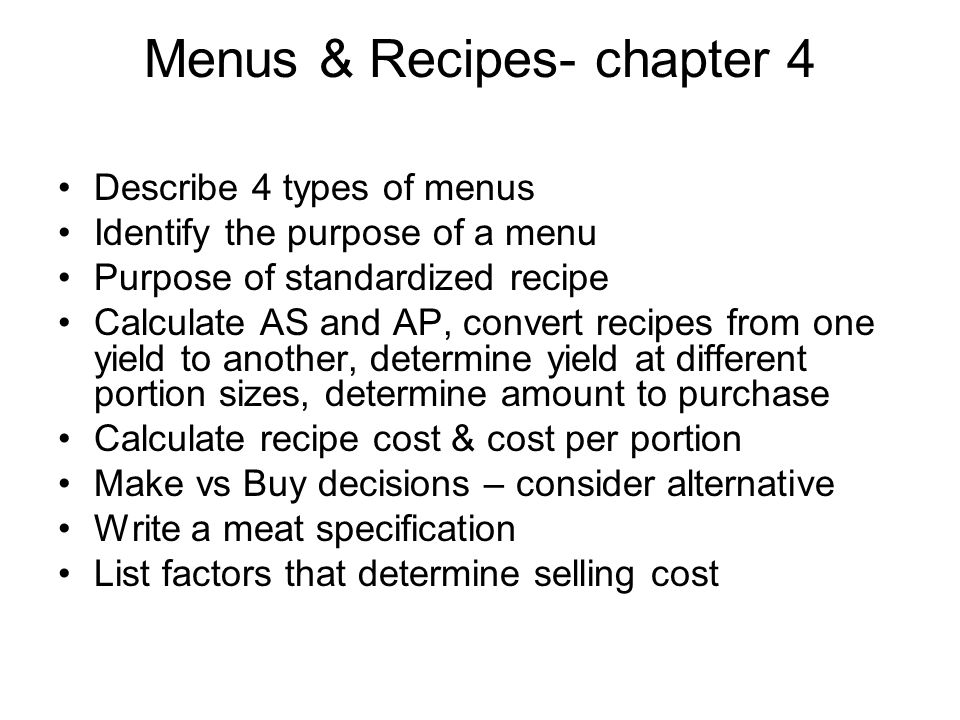 Menus & Recipes- chapter 4