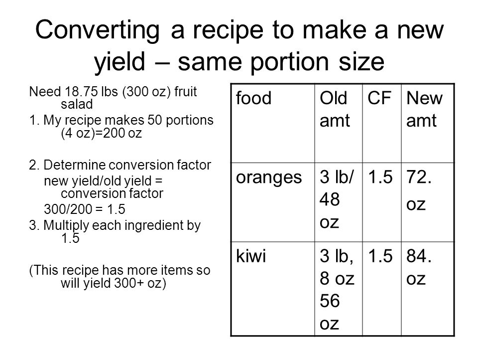 Converting a recipe to make a new yield – same portion size