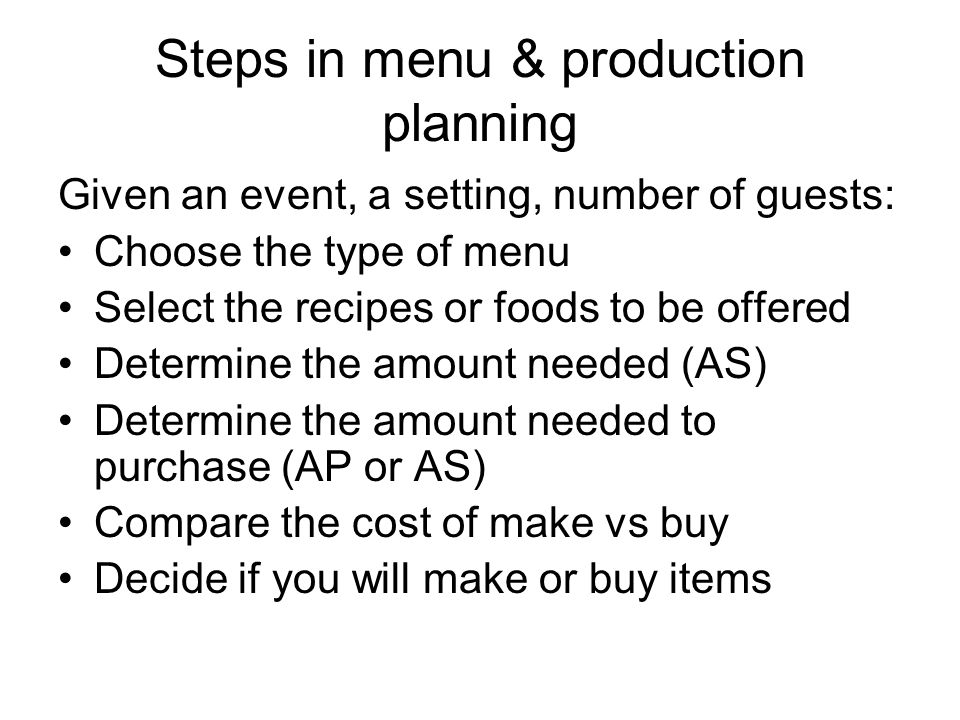 Steps in menu & production planning