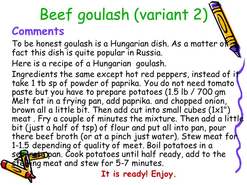 Beef goulash (variant 2)