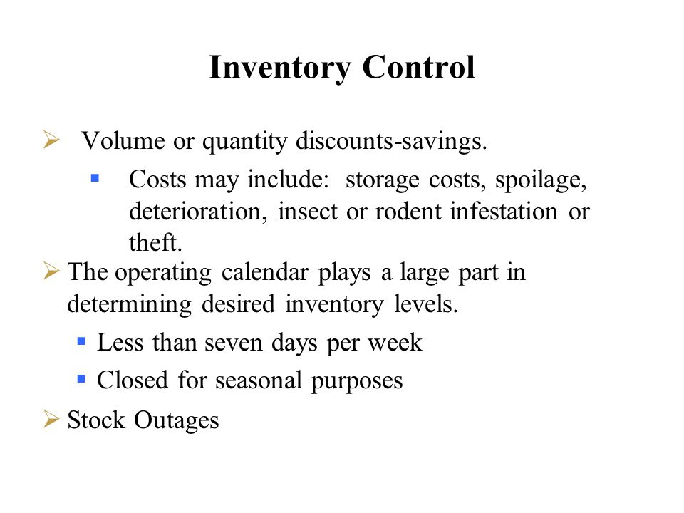 Inventory Control Volume or quantity discounts-savings.