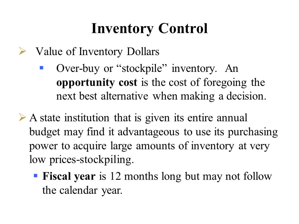 Inventory Control Value of Inventory Dollars