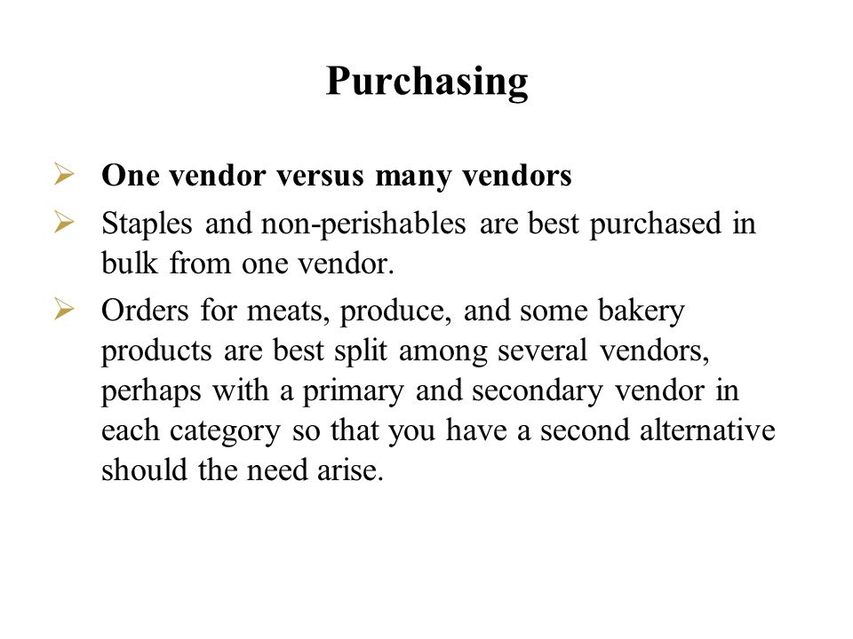 Purchasing One vendor versus many vendors
