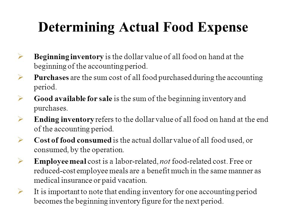 Determining Actual Food Expense
