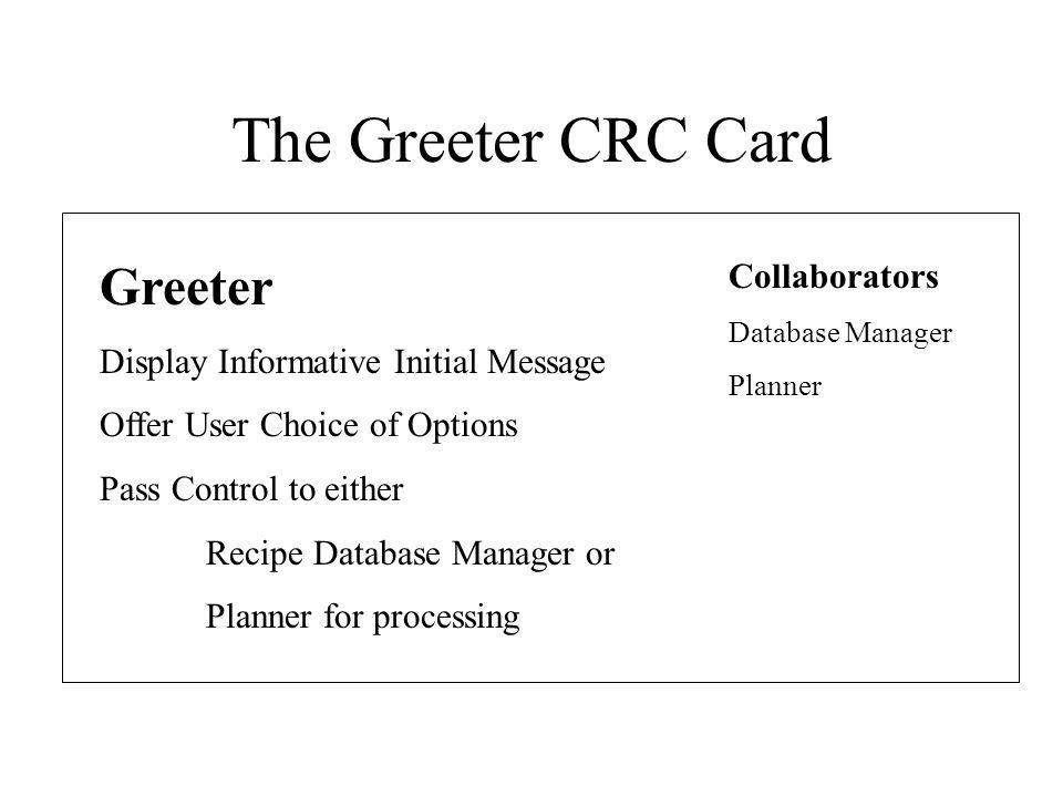 The Greeter CRC Card Greeter Collaborators