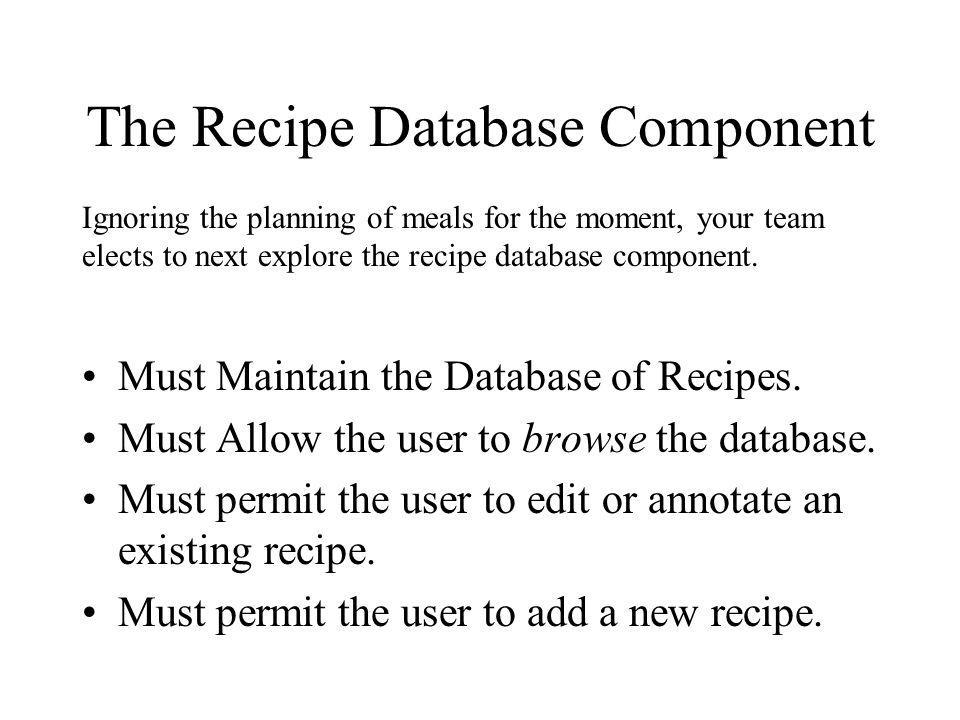 The Recipe Database Component
