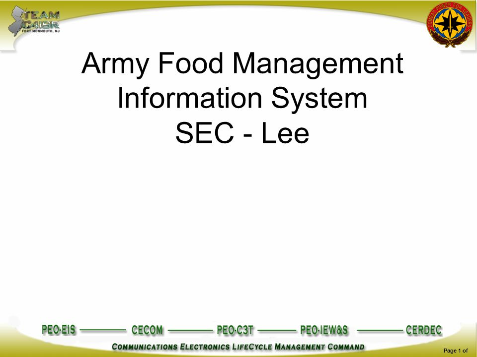 Army Food Management Information System SEC - Lee