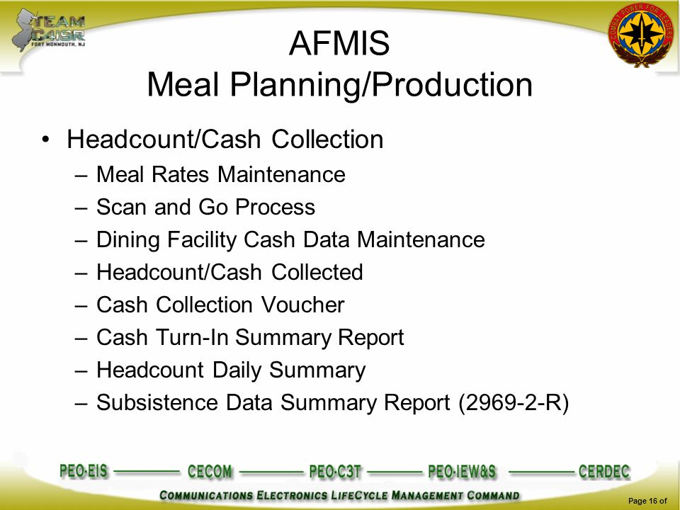 AFMIS Meal Planning/Production