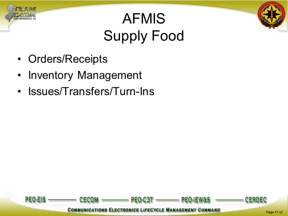 AFMIS Supply Food Orders/Receipts Inventory Management