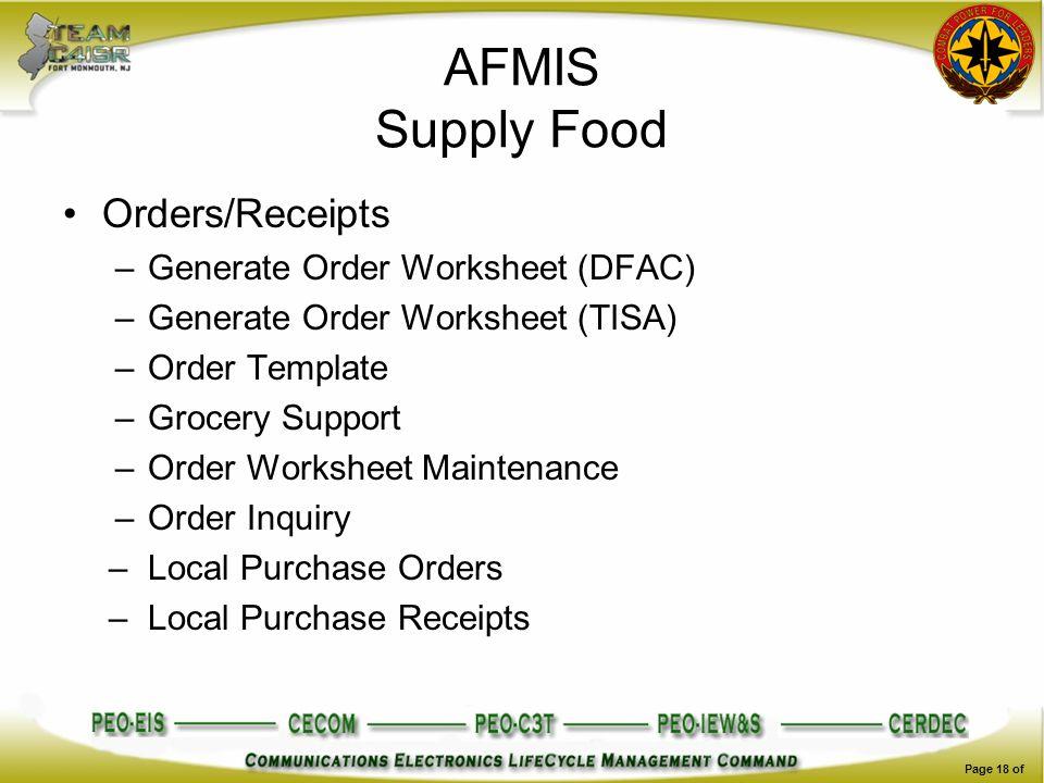 AFMIS Supply Food Orders/Receipts Generate Order Worksheet (DFAC)