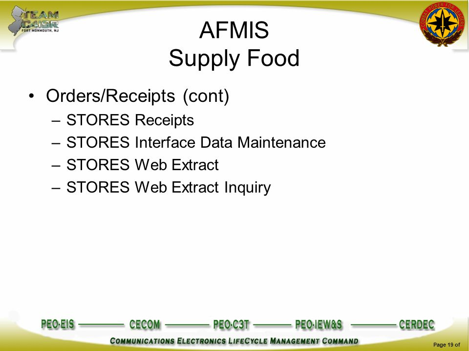 AFMIS Supply Food Orders/Receipts (cont) STORES Receipts