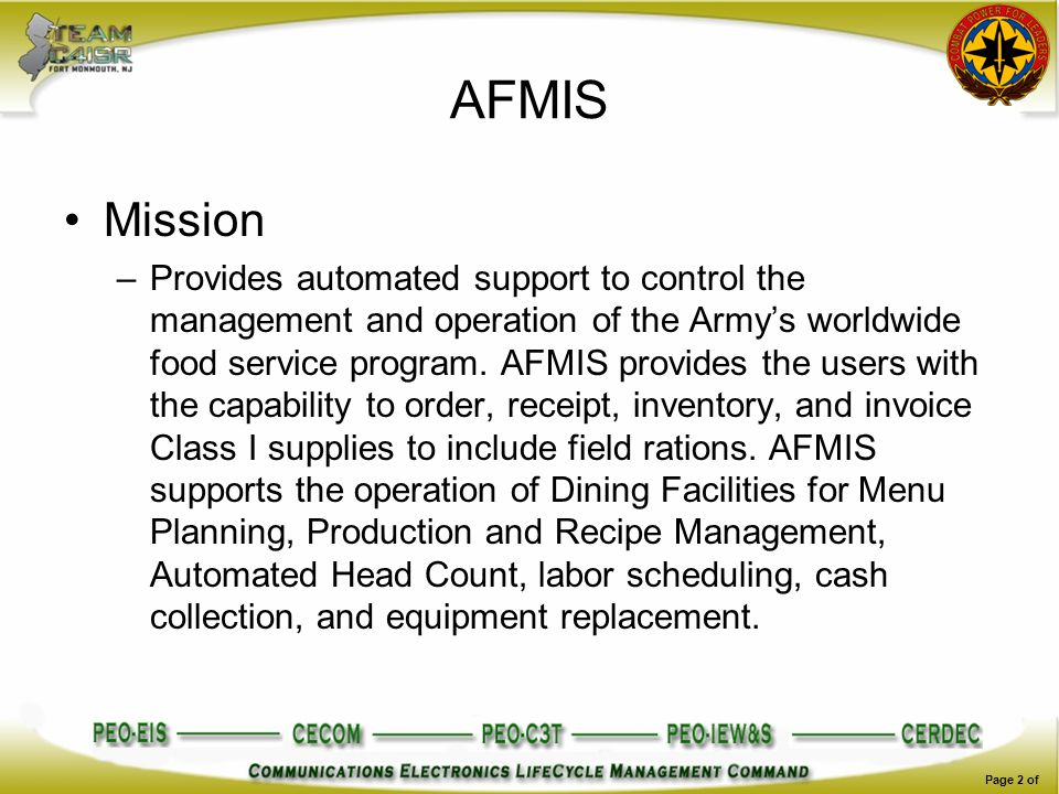 AFMIS Mission.
