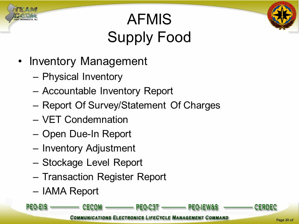AFMIS Supply Food Inventory Management Physical Inventory