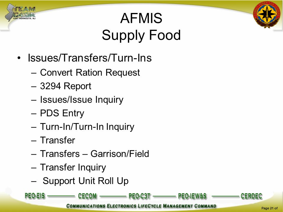 AFMIS Supply Food Issues/Transfers/Turn-Ins Convert Ration Request