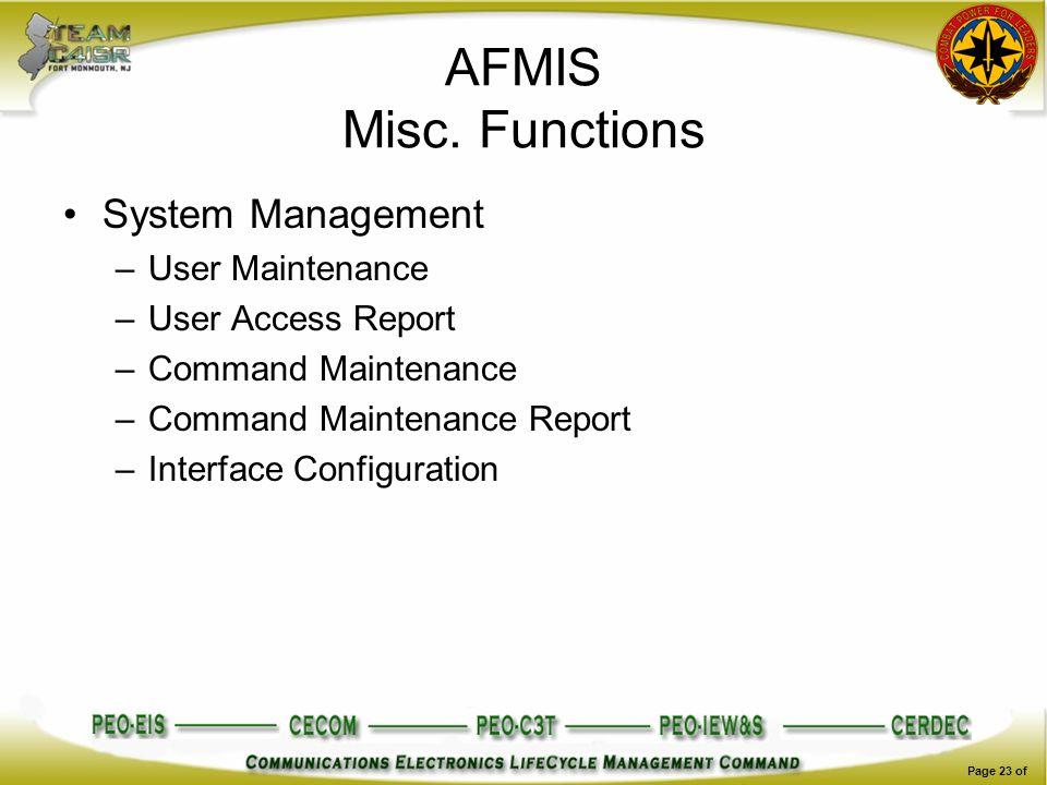 AFMIS Misc. Functions System Management User Maintenance