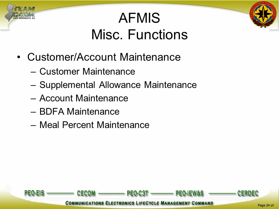 AFMIS Misc. Functions Customer/Account Maintenance