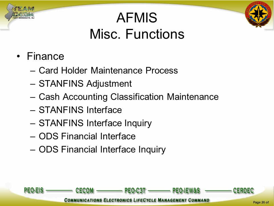 AFMIS Misc. Functions Finance Card Holder Maintenance Process