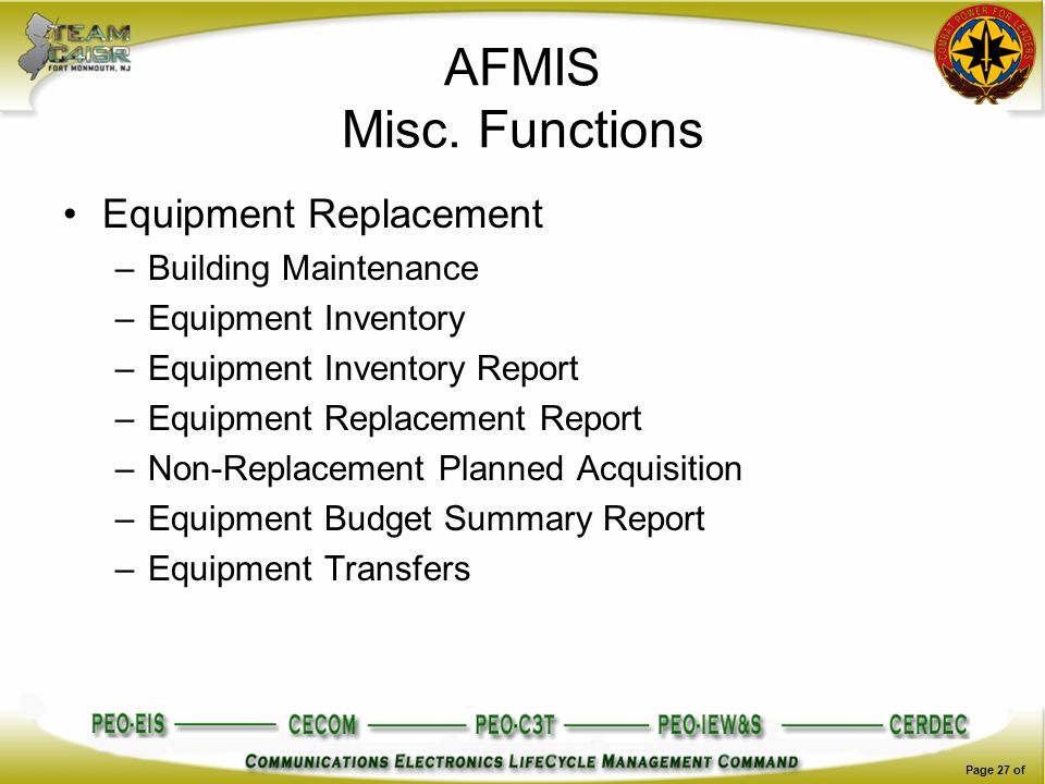 AFMIS Misc. Functions Equipment Replacement Building Maintenance